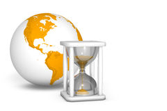 Hourglass measuring the time out. The irretrievable passage of time Royalty Free Stock Photography