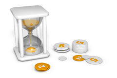 Hourglass measuring the time out. The irretrievable passage of time Stock Photography