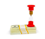 Hourglass and money - business concept Stock Image