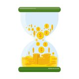 Hourglass with money vector illustration