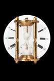 Hourglass na tło zegarowej tarczy Obrazy Royalty Free
