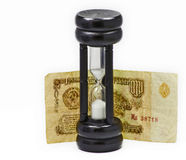 Hourglass and old Soviet Union banknote Stock Photography