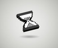 Hourglass pixel 3d cursor icon sand glass. Vector glossy Royalty Free Stock Photo