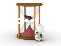 Hourglass prawie wzburzony i pusty 3D mężczyzna Obraz Stock