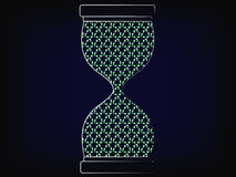 Hourglass with recycle symbol fill. Concept of acting fast for the environment vector on mesh background Royalty Free Stock Photo