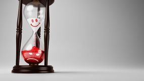 Change of Mood Over Time. Hourglass with Red and White Happy to Angry Emoticons in the Sand on Gray Background with Copyspace 3D Illustration, Change of Mood Royalty Free Stock Photography