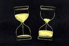 Before and after hourglass with sand moved Royalty Free Stock Image