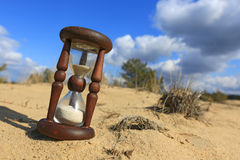 Hourglass on sand. In nice sunny day Royalty Free Stock Photos