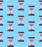 Hourglass, Sandglass Icon Seamless Pattern Background in Flat St Stock Photography
