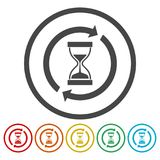 Hourglass, Sandglass, Sand timer, Sand clock icon, 6 Colors Included. Simple vector icons set stock illustration