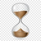 Hourglass sandglass vector realistic isolated 3D. Hourglass or sandglass vector realistic 3D icon isolated on transparent background. Vector hour glass clock royalty free illustration
