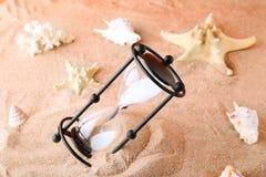 Hourglass with seashells Stock Images