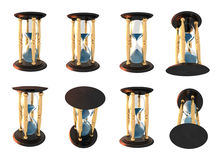 Hourglass series. 3d Illustration of hourglass series over white background royalty free illustration