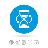 Hourglass sign icon. Sand timer symbol. Copy files, chat speech bubble and chart web icons. Vector Royalty Free Stock Photo