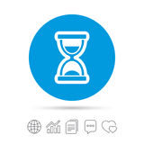 Hourglass sign icon. Sand timer symbol. Copy files, chat speech bubble and chart web icons. Vector Stock Photography