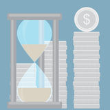 Hourglass with silver coin stock. Time is money Stock Images