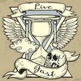 Hourglass and Skull tattoo design Stock Photo