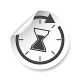 Hourglass sticker label. Time vector illustration. stock illustration