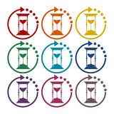 Hourglass sticker set. Vector icon royalty free illustration
