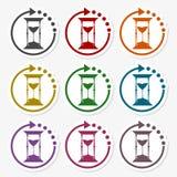 Hourglass sticker set. Vector icon stock illustration