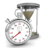 Hourglass and stopwatch on white background Royalty Free Stock Image