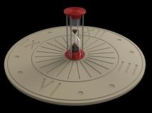 Hourglass and sundial 3d Royalty Free Stock Image