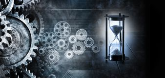 Hourglass Time Cogs Gears Business Background stock image