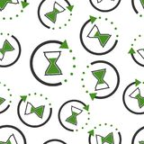 Hourglass time icon seamless pattern background. Business flat v stock illustration