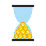 Hourglass time is money isolated icon Royalty Free Stock Photography