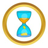 Hourglass, time is money vector icon. In golden circle, cartoon style isolated on white background Stock Photo