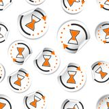 Hourglass time sticker icon seamless pattern background. Business flat vector illustration. Hourglass sticker sign symbol pattern. vector illustration