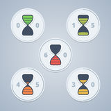 Hourglass timer icons with color gradation and Stock Image