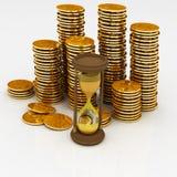 Hourglass und Münzen lizenzfreie abbildung