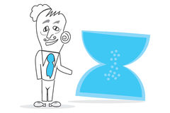 Hourglass. Vector drawn Human with a big blue hourglass piece in hands Stock Photos