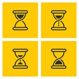 Hourglass vector outline black icons on yellow stock illustration