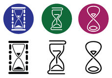 Hourglass. Vector silhouettes of different styles. Royalty Free Stock Image