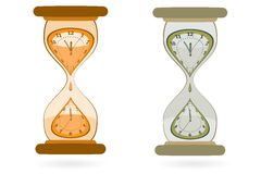 Hourglass with Wall Clocks Royalty Free Stock Photo