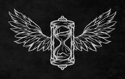 Hourglass and wings. Royalty Free Stock Photo