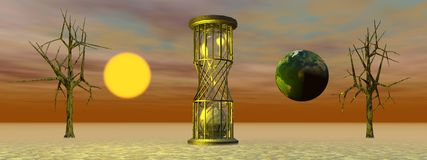 Hourglass and world and sun Stock Images