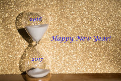 Hourglass for yearly change, 2016 - 2017, symbolic Royalty Free Stock Photo