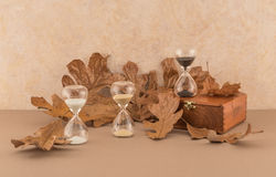 Hourglasses and Autumn Leaves. With old wood box Stock Photo