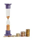 Hourglasses and columns of coins. As growth sum money Royalty Free Stock Images