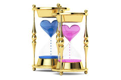 Hourglasses with hearts, 3D rendering. On white background Royalty Free Stock Images