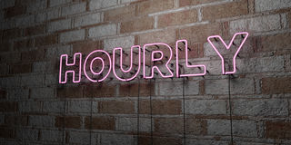 HOURLY - Glowing Neon Sign on stonework wall - 3D rendered royalty free stock illustration Royalty Free Stock Photo