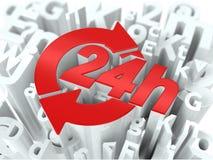 24 Hours on Alphabet Background. Royalty Free Stock Image