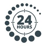 24 hours around black. Around the clock sign. Open 24 hours a day icons for shops, cafe and other enterprises Service Service. Flat vector cartoon illustration Stock Image