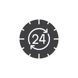 24 hours , around the clock icon vector, filled flat sign, solid pictogram isolated on white. Symbol, logo illustration Stock Photo