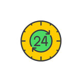 24 hours , around the clock line icon, filled outline vector sign, linear colorful pictogram isolated on white. Symbol, logo illustration Royalty Free Stock Photography