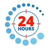 24 hours around color. Around the clock sign. Open 24 hours a day icons for shops, cafe and other enterprises Service Service. Flat vector cartoon illustration Royalty Free Stock Photography