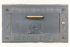 After hours bank depository. Old after hours bank depository door stock photos